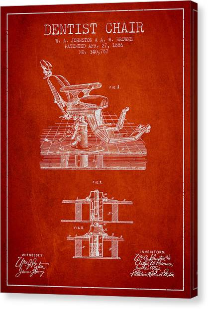Excavators Canvas Print - Dentist Chair Patent From 1886 - Red by Aged Pixel