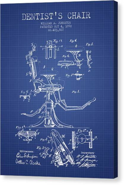 Dental chair canvas prints fine art america dental chair canvas print dentist chair patent from 1892 blueprint by aged pixel malvernweather Image collections