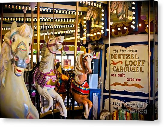 Casino Pier Canvas Print - Dentzel Looff Antique Carousel  by Colleen Kammerer