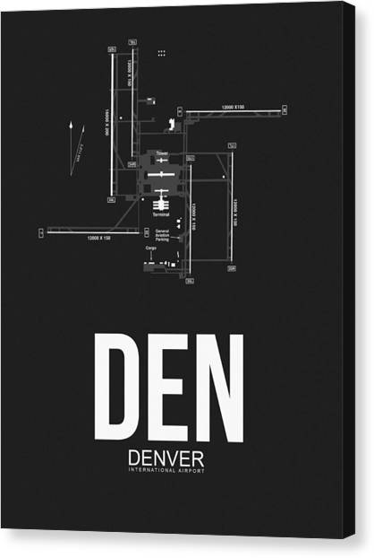 Airports Canvas Print - Denver Airport Poster 1 by Naxart Studio