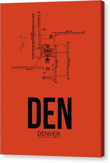 Denver Canvas Print - Denver Airport Poster 2 by Naxart Studio
