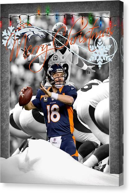 Peyton Manning Canvas Print - Denver Broncos Christmas Card by Joe Hamilton