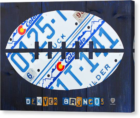Denver Broncos Canvas Print - Denver Broncos Football License Plate Art by Design Turnpike