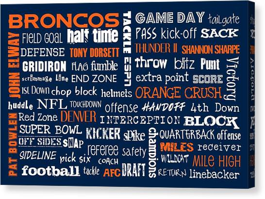 Denver Broncos Canvas Print by Jaime Friedman