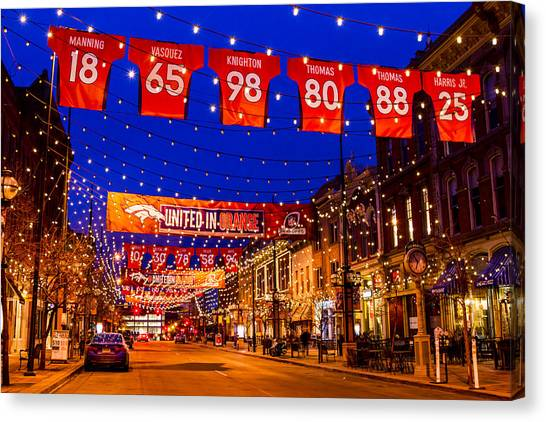 Denver Larimer Square Blue Hour Nfl United In Orange Canvas Print