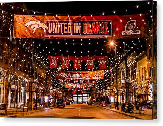 Denver Larimer Square Nfl United In Orange Canvas Print