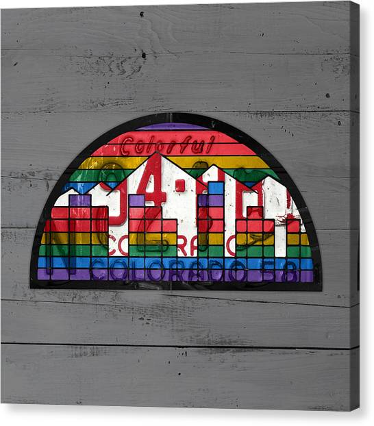 Denver Nuggets Canvas Print - Denver Nuggets Basketball Team Logo Vintage Recycled Colorado License Plate Art by Design Turnpike