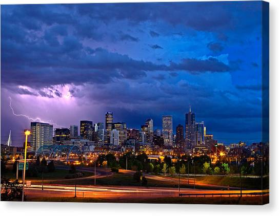 Lightning Canvas Print - Denver Skyline by John K Sampson