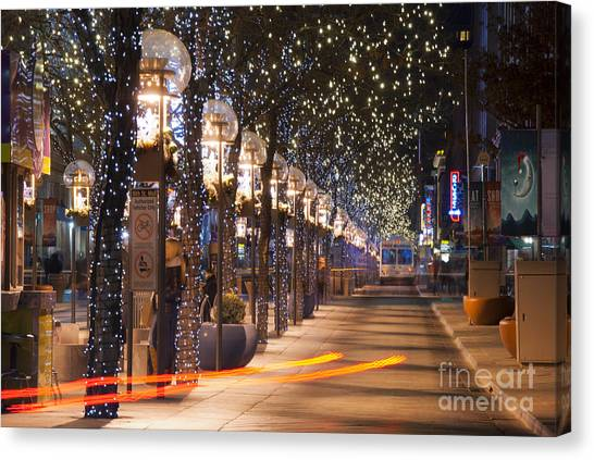 Denver's 16th Street Mall At Christmas Canvas Print