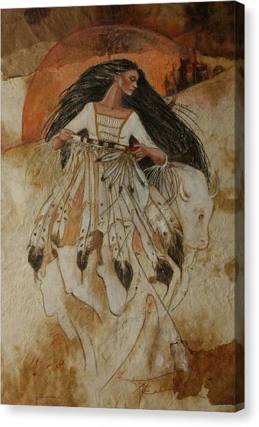 Departure Of White Buffalo Woman Canvas Print