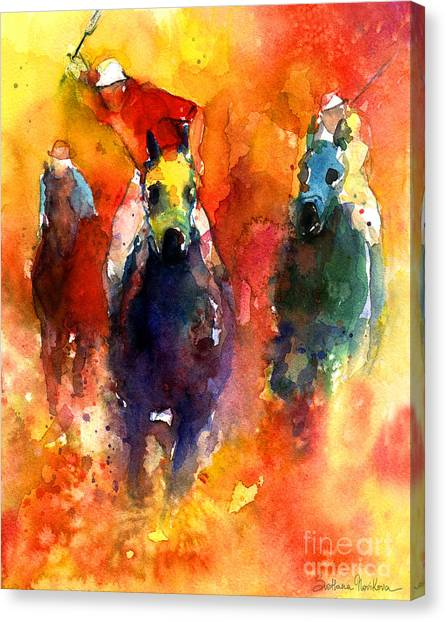 Polo Canvas Print - Derby Horse Race Racing by Svetlana Novikova