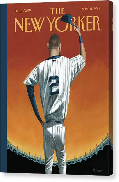 Baseball Canvas Print - Derek Jeter Bows by Mark Ulriksen