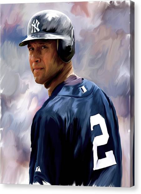 Derek Jeter Canvas Print - Derek Jeter  by Iconic Images Art Gallery David Pucciarelli
