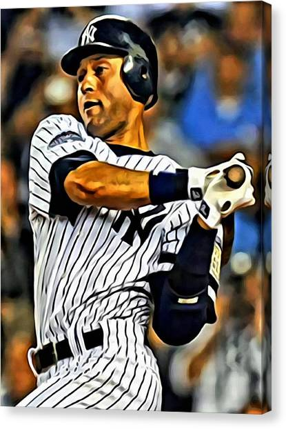Derek Jeter Canvas Print - Derek Jeter In Action by Florian Rodarte