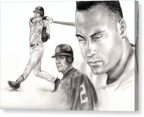 Derek Jeter Canvas Print - Derek Jeter by Kathleen Kelly Thompson
