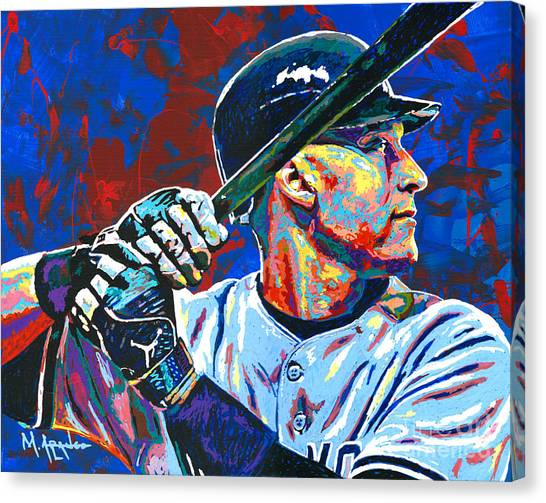 Home Runs Canvas Print - Derek Jeter by Maria Arango