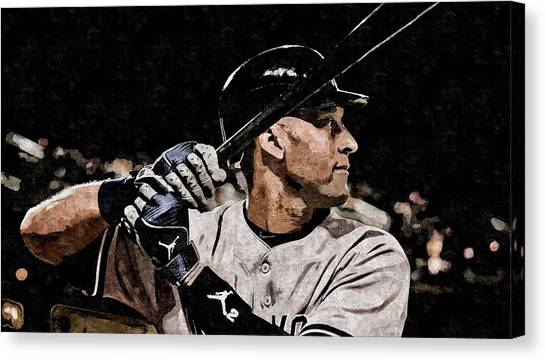 Derek Jeter Canvas Print - Derek Jeter On Canvas by Florian Rodarte