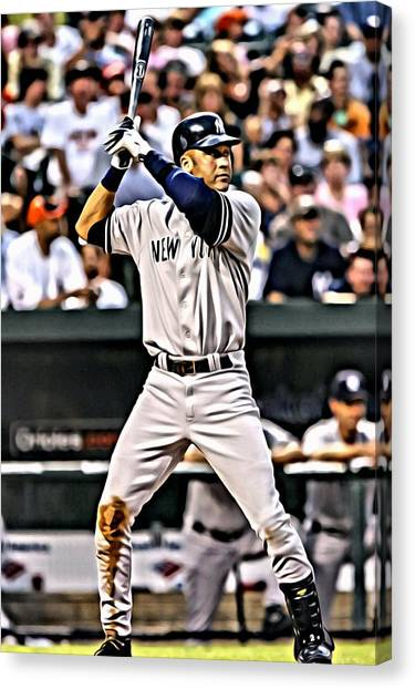 New York Yankees Canvas Print - Derek Jeter Painting by Florian Rodarte