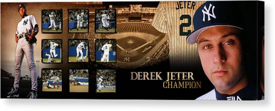 Derek Jeter Canvas Print - Derek Jeter Panoramic Art by Retro Images Archive
