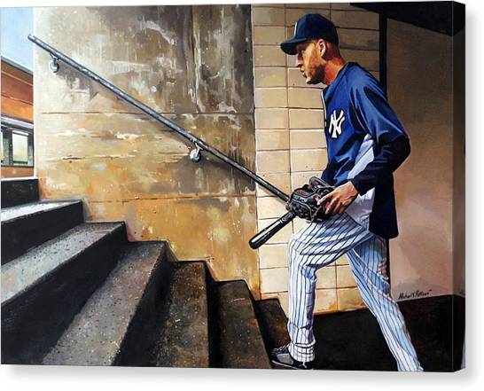 Derek Jeter Canvas Print - Derek Jeter's Final Game by Michael  Pattison