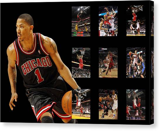 Chicago Bulls Canvas Print - Derrick Rose by Joe Hamilton