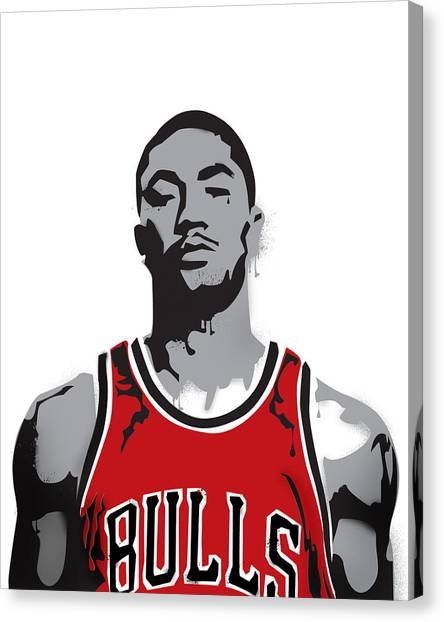 Chicago Bulls Canvas Print - Derrick Rose by Mike Maher