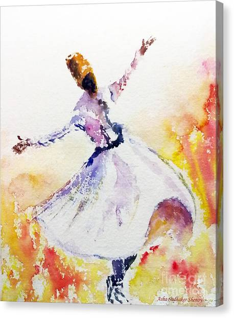 Sufi  Or Dervish Dancer Canvas Print