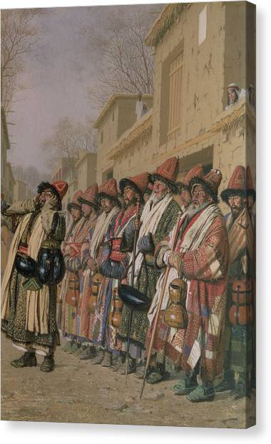 Muslim Canvas Print - Dervishes Chorus Begging Alms In Tashkent, 1870 Oil On Canvas by Piotr Petrovitch Weretshchagin
