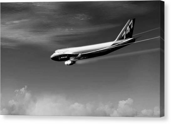 Jetblue Canvas Print - Descending - Boeing 747 by Marcello Cicchini