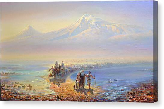Noah Canvas Print - Descent Of Noah From Mountain Ararat by Meruzhan Khachatryan