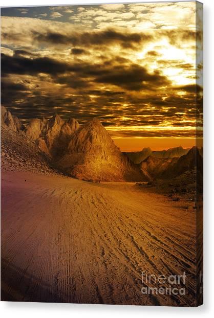 Desert Sunsets Canvas Print - Deseret Landscape by Jelena Jovanovic