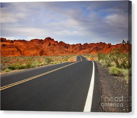 Valley Of Fire Canvas Print - Desert Highway by Mike  Dawson