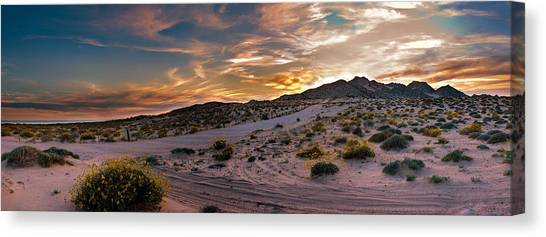 Sandy Desert Canvas Print - Desert Mountain Sunset Panorama by Dave Dilli
