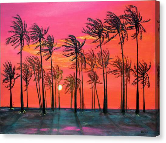 Desert Palm Trees At Sunset Canvas Print