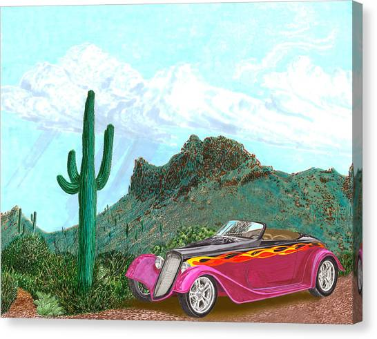 Classic Car Drawings Canvas Print - Desert Roadster 34 Ford by Jack Pumphrey
