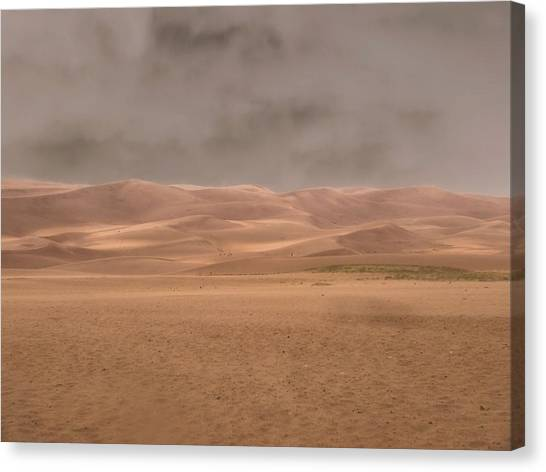 Sandy Desert Canvas Print - Great Sand Dunes Approaching Storm by Dan Sproul
