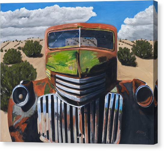 Chevy Truck Canvas Print - Desert Varnish by Jack Atkins