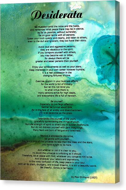 Print On Canvas Print - Desiderata 2 - Words Of Wisdom by Sharon Cummings