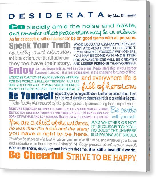 Graduation Canvas Print - Desiderata - Multi-color - Square Format by Ginny Gaura