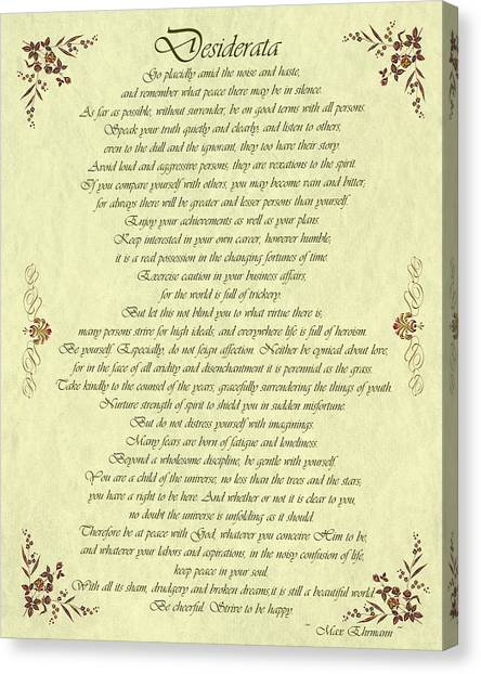 Desiderata Gold Bond Scrolled Canvas Print
