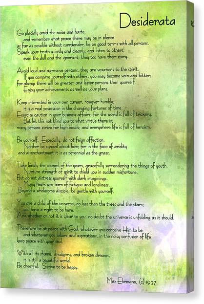 Desiderata - Inspirational Poem Canvas Print