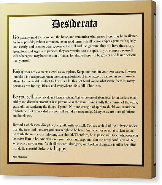 Desiderata Old English Square Canvas Print