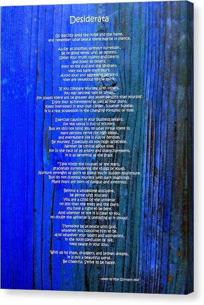Desiderata On Blue Canvas Print