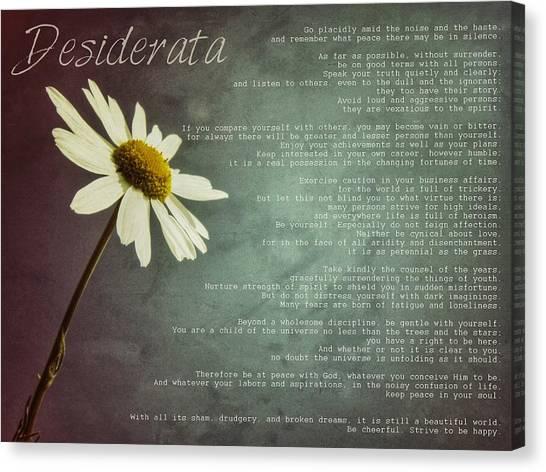 Desiderata With Daisy Canvas Print
