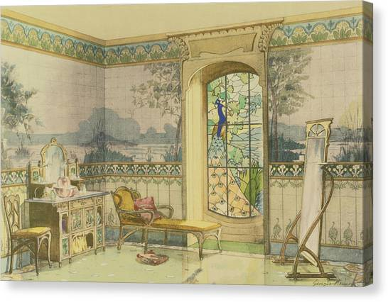 Tile Canvas Print - Design For A Bathroom, From Interieurs by Georges Remon