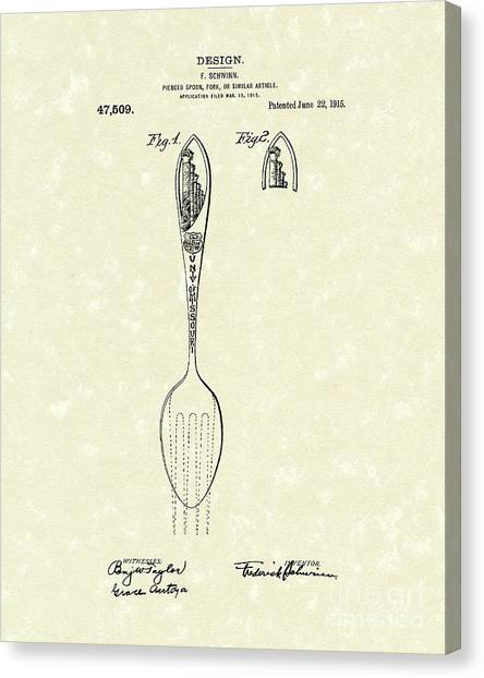 University Of Missouri Canvas Print - Designer Spoon 1915 Patent Art by Prior Art Design