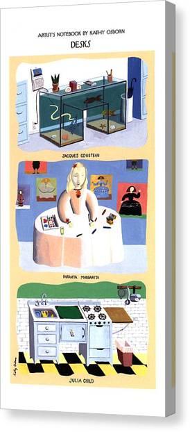 Fish Tanks Canvas Print - 'desks' Fish Tanks by Kathy Osborn