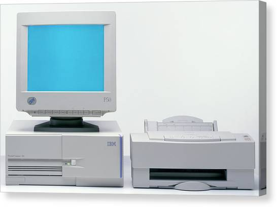 Printers Canvas Print - Desktop Computer And Printer by Ton Kinsbergen/science Photo Library