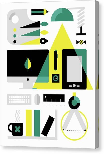 Protractors Canvas Print - Desktop Equipment For Digital Artist by Ikon Ikon Images