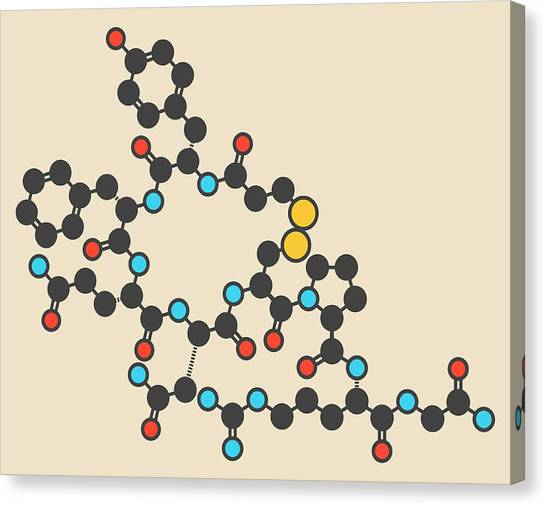 Diabetes Canvas Print - Desmopressin Peptide Molecule by Molekuul